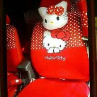 Sarung Jok Mobil AGYA / AYLA Motif HELLO KITTY BINTIK PUTIH