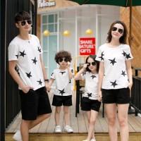 Family Couple / Baju Pasangan / Kaos Keluarga 2 anak Star White 10566