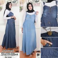 overall rok panjang bahan jeans wash / baju muslim / rok kodok