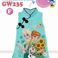 dress anak chiongsam imlek frozen biru import (gw 235)