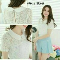 Baju atasan wanita/baju cewek warna putih/blouse fancy white sl murah