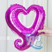 balon foil hati bolong pink fanta / balon foil love bolong pink fanta