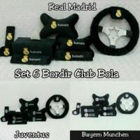 SET CAR 6IN1/BANTAL MOBIL CLUB BOLA REAL MADRID JUVENTUS MUNCHEN