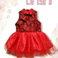 Dress CNY Red Black Kerah LR128B-AXIZ