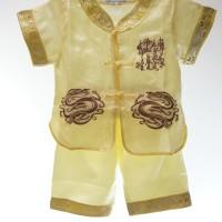 Setelan Cheongsam Anak Laki Kuning baju bayi imlek set sincia qipao