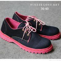 SPECIAL sepatu wanita cewek murah denim black docmart TERLARIS