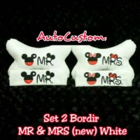 Bantal Mobil 2 in 1 Bordir MR and MRS Mickey Minnie New White