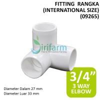 Jirifarm (09265) Fitting 3 way Elbow diameter dalam 27mm tebal 3mm