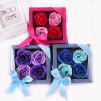 4 BIG SIZE flower soap in mini box, kado simple unik import & murah!