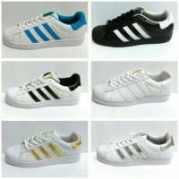 Diskon Sepatu Adidas Superstar Putih garis hitam silver emas putih