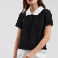 pakaian wanita baju cewek blouse hitam kerah peterpan putih clo169