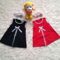 OZK Baju Dress Anak Bayi Perempuan Pita Hitam Merah