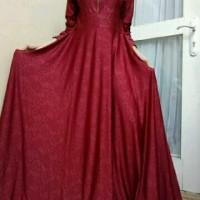 Gamis Jersey Emboss Maroon | Baju Wanita Dress Ma