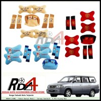 Paket Bantal Mobil - Sarung Seatbelt  9 PCS Kijang New