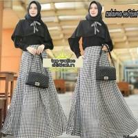 setelan baju muslim pesta cape blouse hitam tunik unik polos rok maxi
