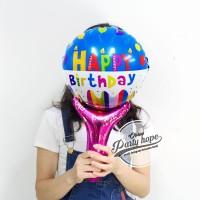 balon pentung HBD biru / balon tepuk HBD / balon foil stick HBD