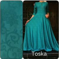 Gamis Jersey Emboss Toska | Baju Wanita Dress Maxi