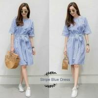 kimono dress midi korea baju gaun terusan wanita model kekinian baru