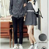 baju couple pasangan pria wanita kemeja hem atasan mini dress gaun