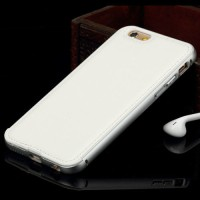 White Metal Frame Leather Back Case Iphone 6/6S Plus Z6P7020WE