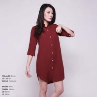 Boxy Long Line Shirt / Dress Kerah / Terusan Kerah