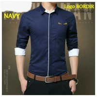 pendi navy / kemeja / atasan / baju cowok / katun stretch