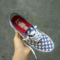 Sepatu Vans Authentic Checkerboard X Supreme Blue White Premium