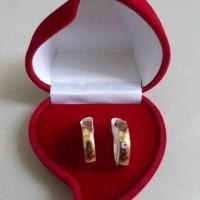 Cincin Couple Emas Diamond free Ukir Nama & Box Beludru