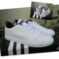 Sepatu Adidas advantage cowok full white garis hitam/sneakers murah
