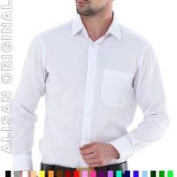 B1-14 Kemeja Baju Kerja Cowok ALISAN ORIGINAL Polos Lgn Panjang Putih
