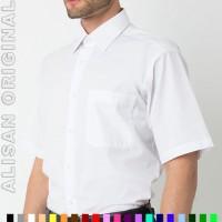 B2-14 Baju Kerja Pria Kemeja ALISAN ORIGINAL Polos Lengan Pendek Putih