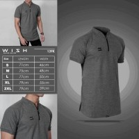 WISH POLO SHIRT ZIPPER GREY-KAOS KERAH ABU-BAJU WANGKY POLOS