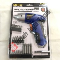 Cordless Screwdriver Set 24 pcs Mollar / MESIN Bor Obeng Portable