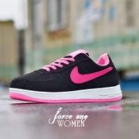 Sepatu Wanita Nike Air Force 1 Hitam List Pink MURAH! BUKAN nmd yeezy
