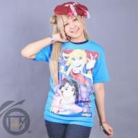 Baju Chitoge & Onodera Anime Nisekoi Biru Muda - Kaos Tshirt Kartun gz