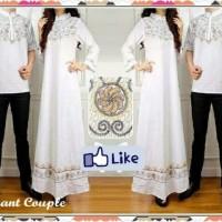 Elegant Embroidery Couple White/Pakaian Pasangan Baju Muslim Putih