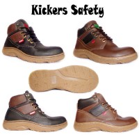Sepatu Kickers Safety Boots Adreno Kulit Hitam / Coklat BUKAN docmart