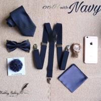 paket hemat NAVY!  suspender, dasi panjang, dasi kupu, pocket square