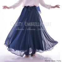 Rok Panjang Muslimah Murah Chiffon Cerutti Umbrella Skirt