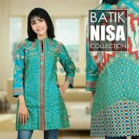 Baju Batik Blouse Tunik Atasan Wanita Sinar 01 Toska Katun Cap Malam