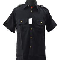 Baju / Kemeja Safari Hitam Supir / Security High Twist Lengan Pendek