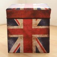 Bangku Kotak Storage Box Container Motif Bendera Inggris Vintage