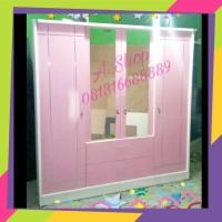 Lemari Pakaian minimalis pink 4 pintu. model mewah jumbo.
