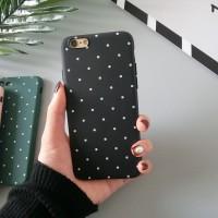 POLH Polkadot Soft Casing case Back Iphone 5 5s SE 6 6s 7 8 Plus Hitam