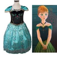 Baju Dress Kostum Princess ANNA Frozen Hijau, Hadiah Ulang Tahun