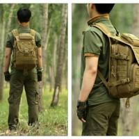 ransel kulit kanvas pria wanita backpack tactical army laptop kuliah