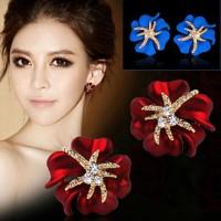 Anting Import Jepit Cuff Bunga Mawar Merah