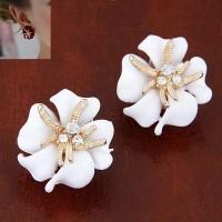 Anting Import Jepit Cuff Bunga Mawar Putih