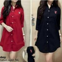 kemeja tunik shirt hem blouse merah hitam baju atasan polos casual