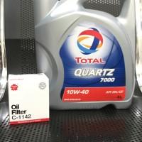 Paket Oli Total Quartz 7000 10W40 + Oil Filter Oli Sakura Semua Mobil